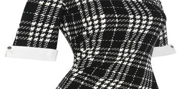 vintage plaid half sleeve work sheath pencil dress for women