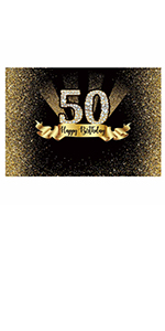 Funnytree 7x5ft Gold 50th Birthday Photography Backdrop