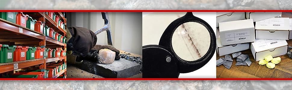 eisco labs scientific tech cut rocks and minerals specimens samples quartz hematite granite lab