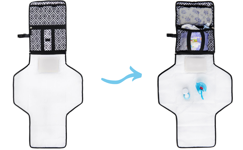 Convenient Storage Pockets Portable Changing Pad