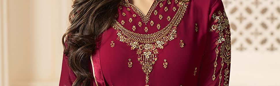 red salwar suit set party wear semi stitched for women