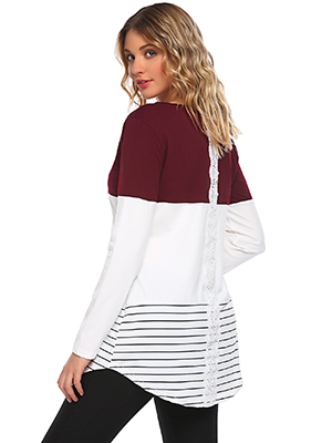 Lace Inset long sleeve tunic tops