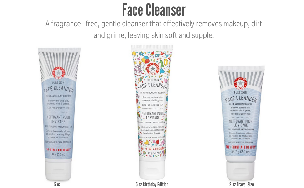First Aid Beauty Face Cleaner 5oz 2oz Birthday Edition fragrance free gentle cleanser removes makeup