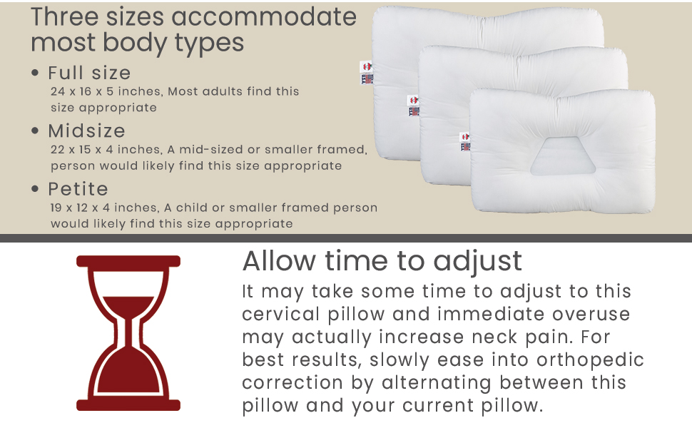 Three sizes for most body types, Full size, Midsize, Petite size, Allow time to adjust to pillow