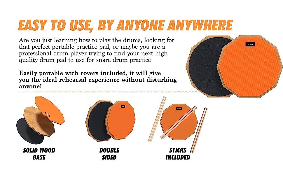 drum pads, drum practice pad, drum pad and sticks, drum practice pad with stand