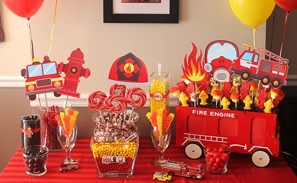 Firefighter Birthday Decorations Firefighter Party Decor Fireman Party Supplies DIGITAL EDITABLE Firefighter Birthday Party Supplies
