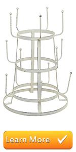 vintage white metal tabletop counter top mug holder hooks rack cups drinkware storage tower