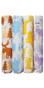 Colorful Critter Muslin Swaddle Blankets