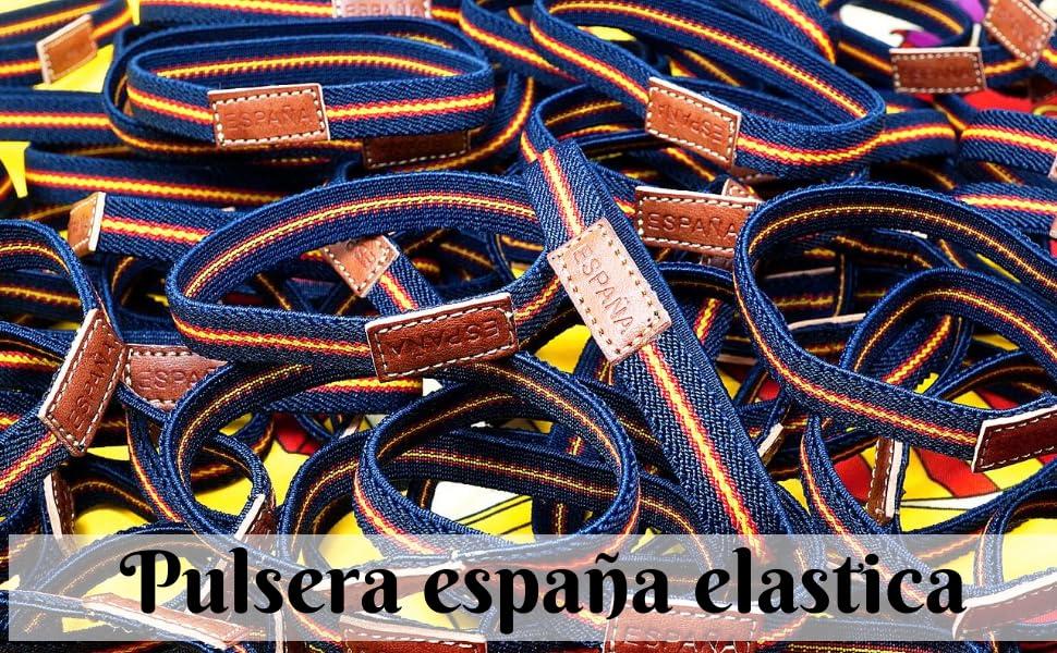 HAND-PRO Pulsera españa Hombre Pulsera españa Cuero Pulsera Elastica españa Pulsera Bandera españa Pulsera españa Mujer Pulsera españa Tela: Amazon.es: Joyería