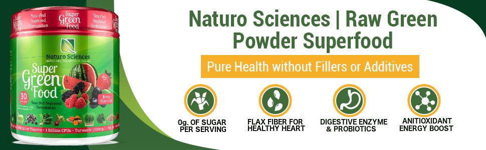 Fiber, zero sugar Green super foods