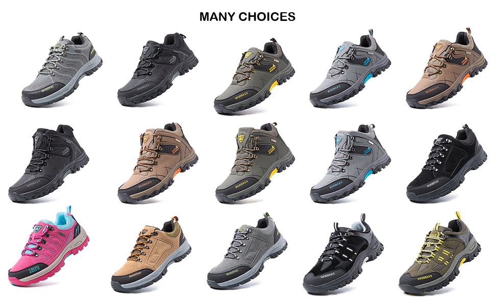 Hiking Shoes Men Non-Slip Low Rise Trekking Boots Synthetic Breathable Walking Shoes