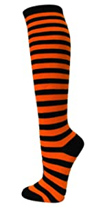 COUVER Black Striped Knee High Socks Striped High Socks Halloween Costume Cosply Bee