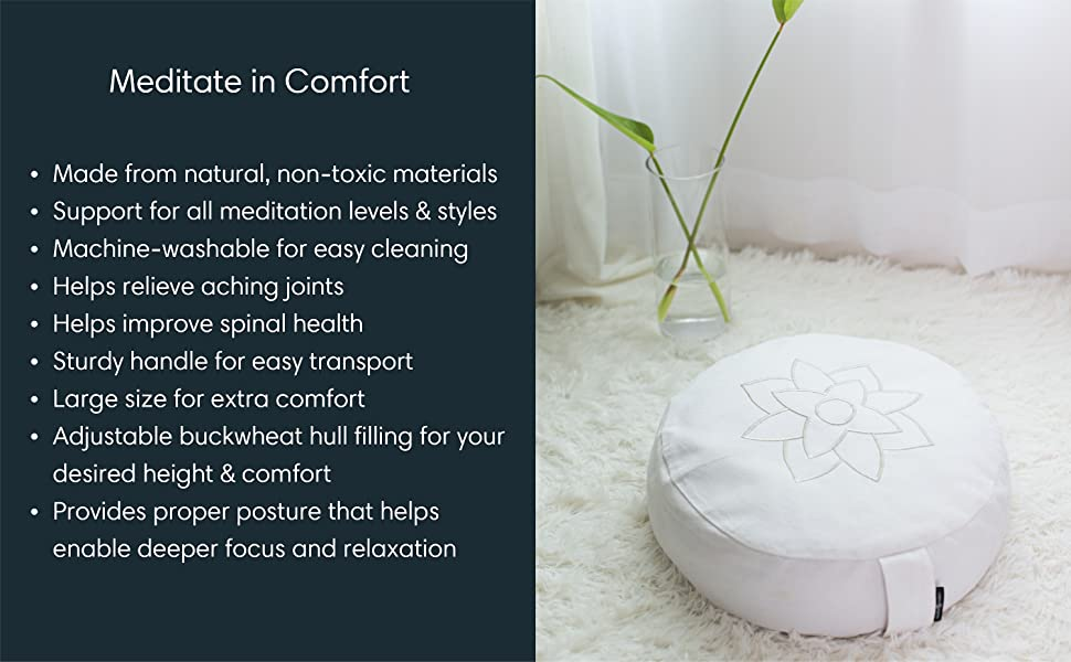 meditation cushion white