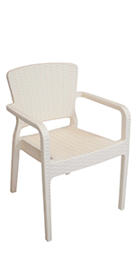 cream plastic patio armchair