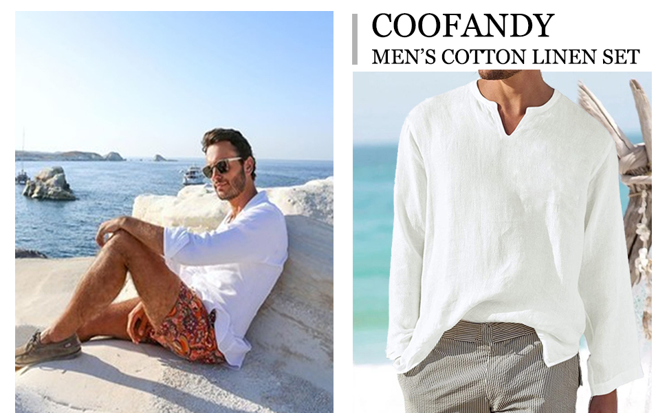 COOFANDY Mens 2 Pieces Cotton Linen Hippie T Shirt and Pants Casual Long Sleeve Jogger Yoga Top Sleepwear Pajamas Set