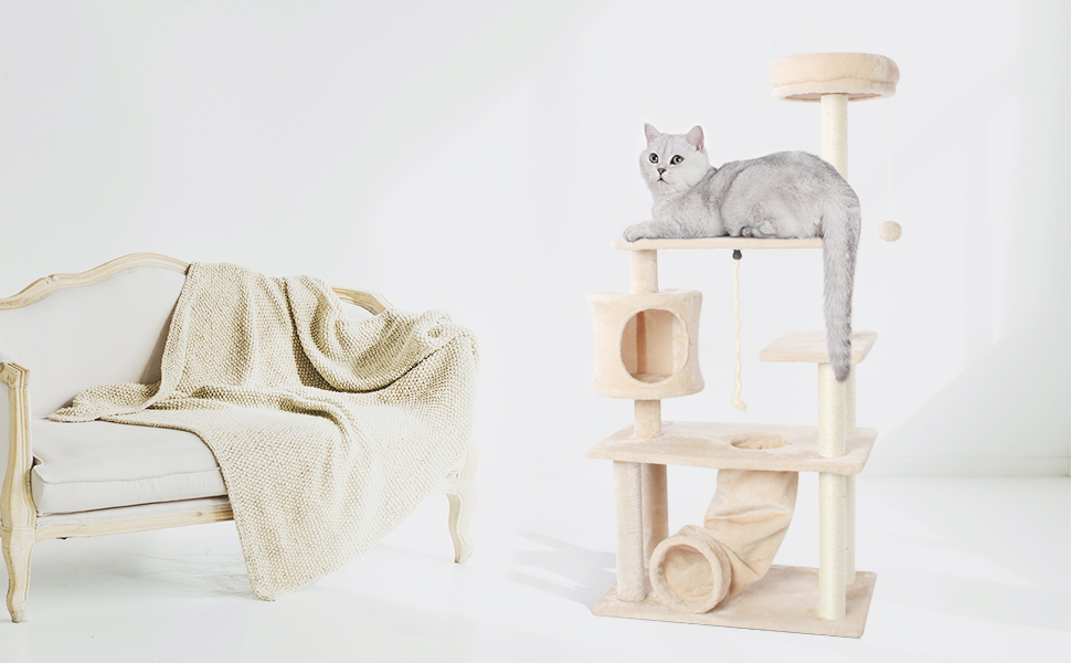 Amazon - $42.40-52.40 CUPETS Cat Tree Pet Furniture Cat Condo with House, Cat Scratching Post Indoor for Cats and Kittens