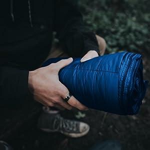 water resistant camping blanket green