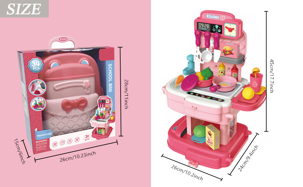 Pretend Play House Kitchen Toy Backpack,34pcs Play Kitchen Simulation Props,Kitchen Playset