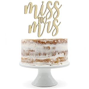 gold miss to mrs cake topper shown on naked cake