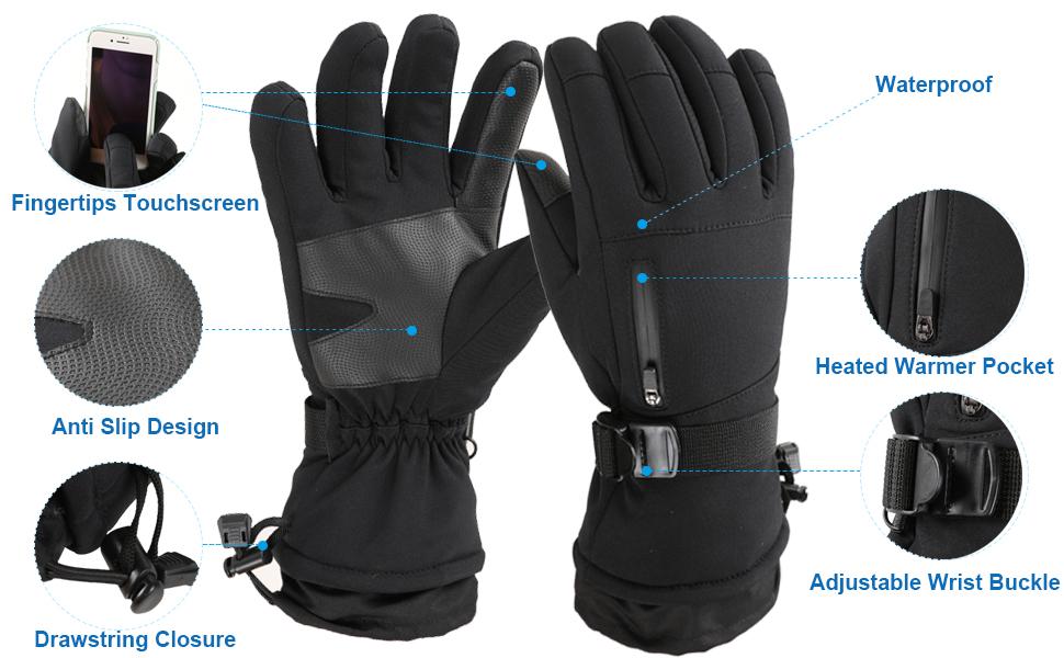 Frlozs Ski & Snow Gloves Waterproof Insulated