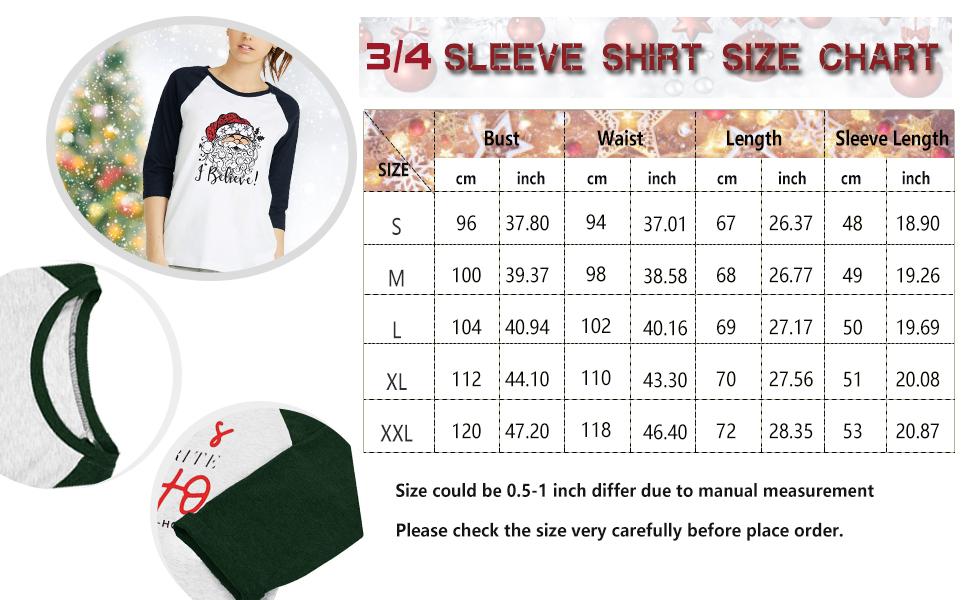 Christmas Believe Shirt Women Funny Plaid Trees Tees Raglan 3/4 Sleeve Holiday Tops
