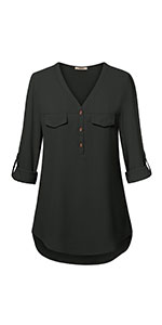 women blouses chiffon tunic blouse 3 4 sleeve v neck button down shirts for office work