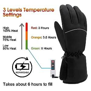 Rehomy Guantes Calefactables Guantes de Invierno Calentadores de Manos El/éctricos con Bater/ía con 3 Niveles de Temperatura para Esquiar Escalada Senderismo Ciclismo Snowboard
