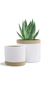 """GrowLED Ceramic Plant Pot 6"""" and 5"""", Nature Series, White"""