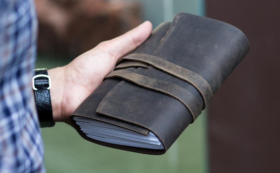 Handmade Leather Journal/Writing Notebook Diary/Bound Daily Notepad For Men & Women Unlined Paper