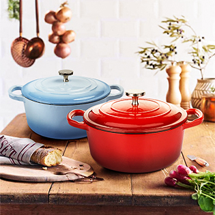Enamel Cast Iron Cast Iron Dutch Oven Red Blue for Family Cooking Stockpot with Lid Original Flavor