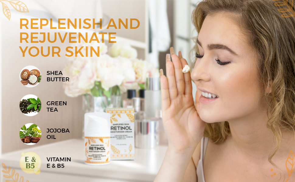 """Woman about to apply Retinol Cream to her face next to the title """"Replenish and Rejuvenate Your Skin"""