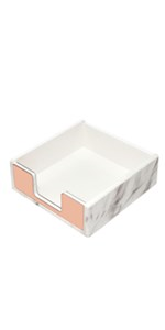 sticky memo pad holder rose gold marble white