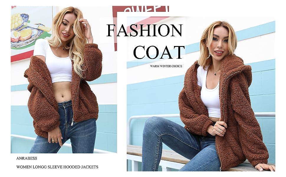 Women's Fashion Long Sleeve Hooded Zip Faux Shearling Shaggy Oversized Coat Jacket with Pockets Warm