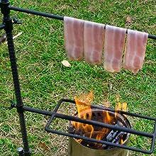 ベーコン 焚き火 ファイヤーラック ハンギング