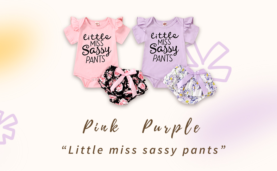 pink&purple flower print baby outfits summer