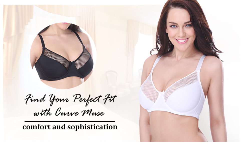 Curve Muse Womens Plus Size Minimizer Unlined Underwire Full Figure Bra-2or3Pack