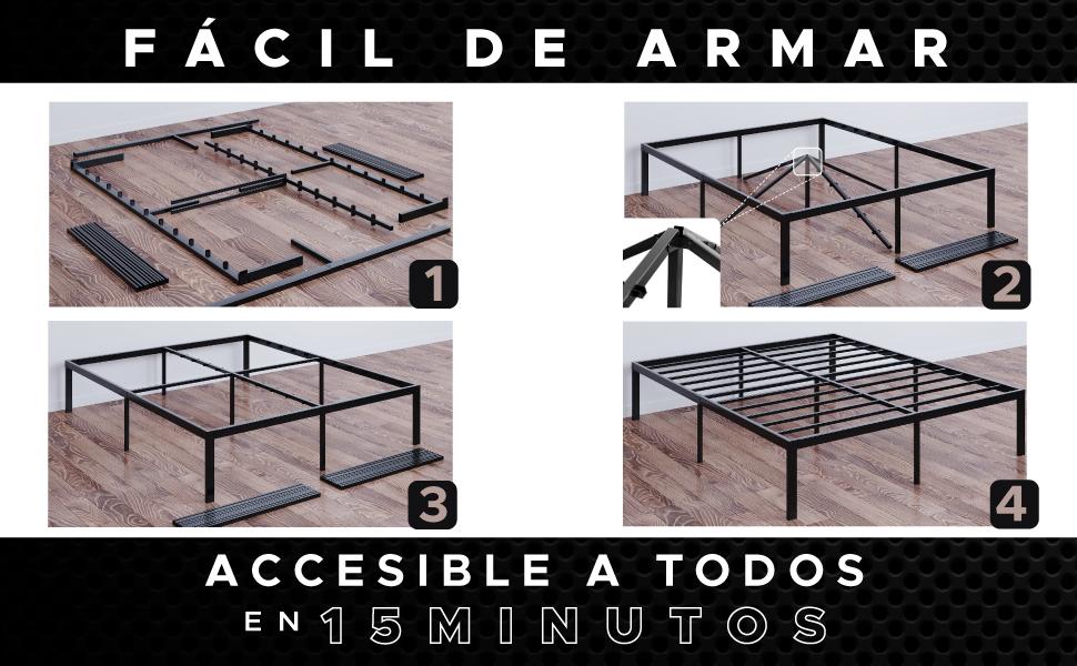 Dreamzie - Somier 90 x 200cm con Patas de 36cm - Bastidor de Cama Individual Plegable Metálico - Montaje Sencillo - Resistente