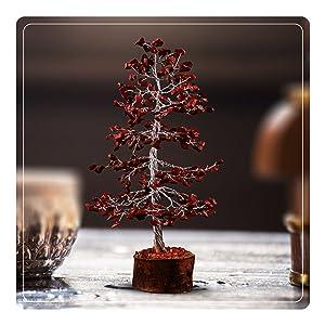 Red jasper gemstone crystal wire tree