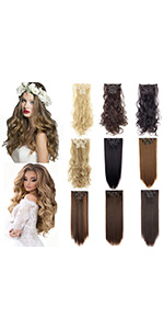 Clip in Hair Extensions 6Pcs 16 Clips Curly Wavy Straight Thick Clip on Synthetic Hair Extension