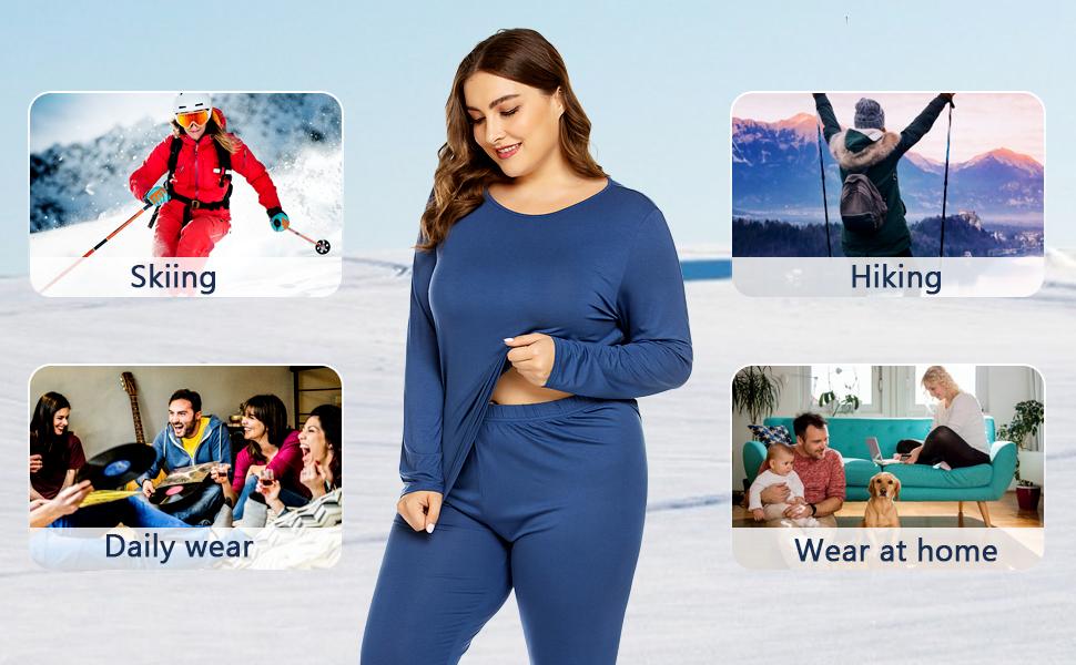 Plus Size Long Johns Sets 2 Pcs Base Layer Sets Thermal Underwear Top amp; Bottom Pajamas(16W-28W)