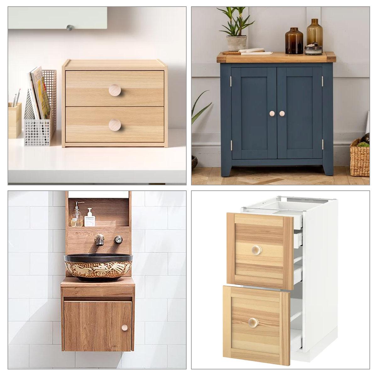 Surepromise - 20 tiradores de madera natural para cajones y muebles, tiradores de muebles
