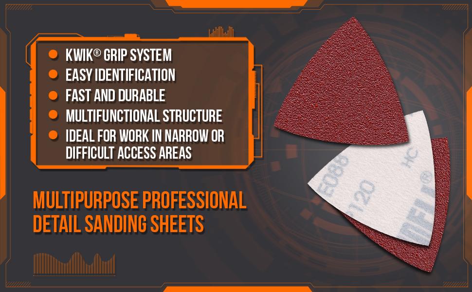 KWIK GRIP SYSTEM, DURABLE SANDPAPER, HOOK AND LOOP SANDPAPER, MULTIPURPOSE SANDPAPER, detail sander