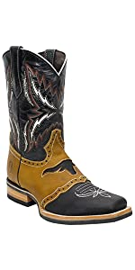 silverton longhorn genuine leather western square toe black cowboy boots