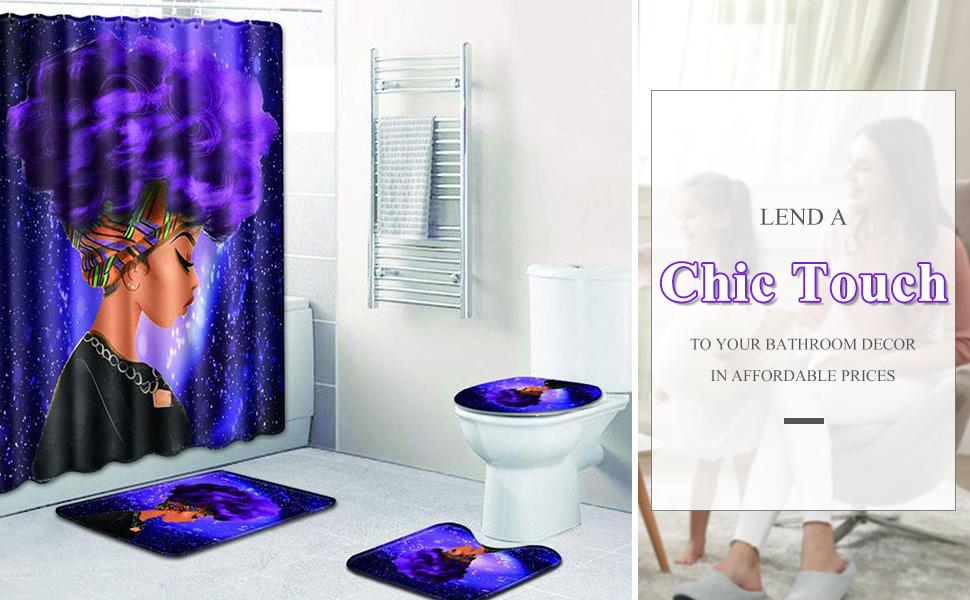 Shower Curtain Set With Bathroom Mat