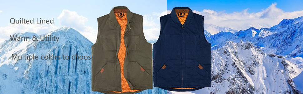 Men's Sherpa Lined Full Zip Vest Canvas Sleeveless Jacket