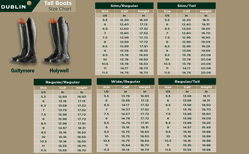 Size chart for tall Dublin boots