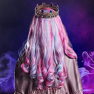 audrey costume closeup, movie villain, pink jumpsuit, pink and purple blue wig closeup