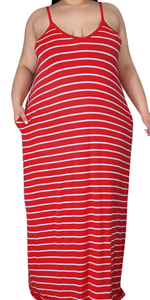 Red Striped Plus Size Maternity Maxi Dresses