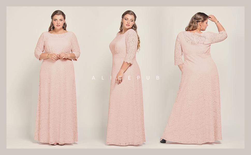 Alicepub Women\'s Plus Size Wedding Bridesmaid Dresses Long Elegant Lace  Formal Evening Dresses