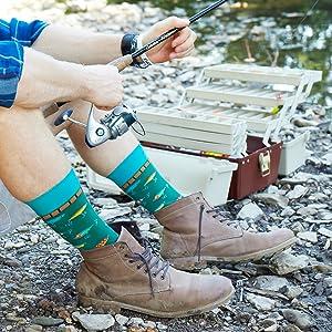 mens novelty funny fun socks fishing fish camping outdoors dad